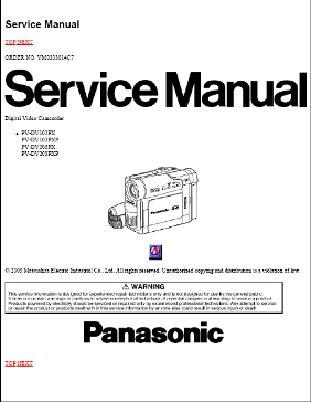 PANASONIC PV DV103 PVDV203 SERVICE MANAUL PDF DOWNLOAD